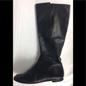 Zara Pebble Leather Black Boots Flats Sz 40